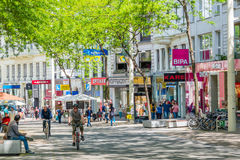 Shopping street Mariahilfer Strasse in Vienna, Austria Stock Images