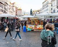 Shopping on street market on Campo de Fiori , Rome Stock Images