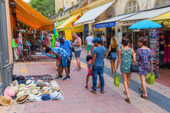 Shopping street in Menton, South France Stock Images