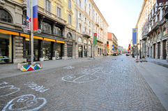 Shopping street in Milan. MILAN, ITALY - JUNE 20: View of the Via Dante street in Milan on June 20, 2015. Milan is the capital of Lombardy and one of the largest Stock Photography