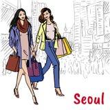 Shopping street at Myeongdong Royalty Free Stock Image