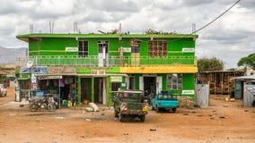 Shopping street in Namanga, Kenya stock photos