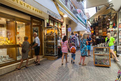 The shopping street in the old town of Chania, a lot of tourists Stock Photography