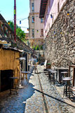 Shopping street in the old town in the morning Royalty Free Stock Images