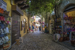 Shopping street in the old town of rhodes Stock Photos