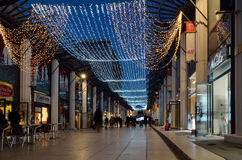 Shopping street ornate with festive lighting Stock Image