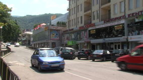 The shopping street in Petrich, Bulgaria. Petrich - a small town in seismic zone of Bulgaria, near the border with Greece. Petrich is famous for the fact that stock video footage