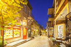 Shopping Street in Quebec City, Canada. A beautiful shopping street in downtown Quebec City, Canada with the focus plane tilted alongside the street Royalty Free Stock Photos