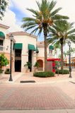 Shopping street retail stores & businesses, FL. Town center with businesses, restaurants and strips of stores in shopping plaza in Weston, South Florida Stock Image