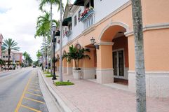 Shopping street retail stores & businesses, FL. Town center with businesses, restaurants and strips of stores in shopping plaza in Weston, South Florida stock images