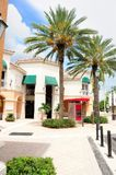 Shopping street retail stores & businesses, FL. Town center with strip of stores and businesses in shopping plaza in Weston, South Florida stock images