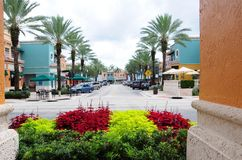 Shopping street retail stores & restaurants, FL. Town center with businesses, restaurants and strips of stores in shopping plaza in Weston, South Florida Stock Photography