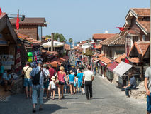 Shopping street in the seaside town. Royalty Free Stock Photo