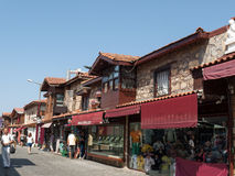 Shopping street in the seaside town. Royalty Free Stock Photos
