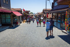 Shopping street in the seaside town Stock Images