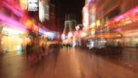 Shopping Street in Shanghai, Time Lapse Royalty Free Stock Image