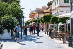 Shopping street in the small town of San Telmo, Mallorca, Spain. Royalty Free Stock Images