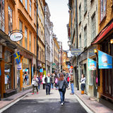 Shopping street in Stockholm Royalty Free Stock Photos