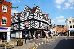 Shopping street, Warwick. Royalty Free Stock Images