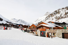 Shopping street in town Val d'Isere, France Royalty Free Stock Photo