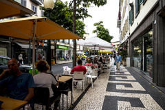 Shopping Streets in Funchal Madeira Portugal. Close by the market are the main shopping streets, pedestrian areas and the Cathedral or the Se in Funchal with stock photos