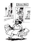 Shopping Stress (2008). Woman shopping and carrying lots of bags and looking stressed while the seller smiles and looks happy while counting the money Stock Illustration