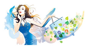 Shopping in Summer. Portrait a young woman holding shopping bag stock illustration