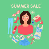 Shopping Summer Sale in Flat Design with Woman Royalty Free Stock Photography