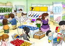 Shopping in the supermarket. Cute little character happy shopping Royalty Free Stock Image