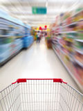 Shopping in supermarket. By supermarket shopping cart Stock Photos