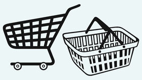 Shopping supermarket cart and plastic basket Royalty Free Stock Photo