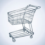 Shopping supermarket cart. Vector sketch Stock Images