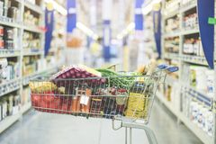 Shopping at supermarket, shopping concept Stock Images