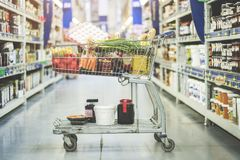 Shopping at supermarket, shopping concept Royalty Free Stock Photos