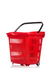 Shopping supermarket trolley isolated. On the white Stock Photo