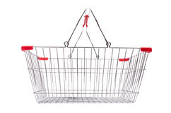 Shopping supermarket trolley. Isolated on the white Stock Photography