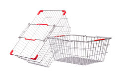 Shopping supermarket trolley isolated. On the white Royalty Free Stock Photos