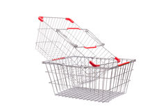 Shopping supermarket trolley. Isolated on the white Royalty Free Stock Image