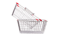 Shopping supermarket trolley isolated. On the white Stock Photography