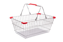 Shopping supermarket trolley isolated. On the white Stock Images