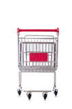 Shopping supermarket trolley isolated on the white Stock Image