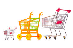 Shopping supermarket trolley isolated on the white. The shopping supermarket trolley isolated on the white Stock Images