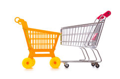 Shopping supermarket trolley isolated on the white Royalty Free Stock Photography