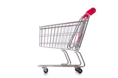 Shopping supermarket trolley isolated on the white Royalty Free Stock Image