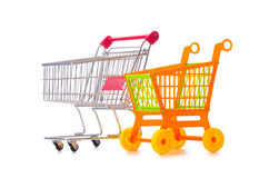 Shopping supermarket trolley isolated on the white. The shopping supermarket trolley isolated on the white Stock Photography