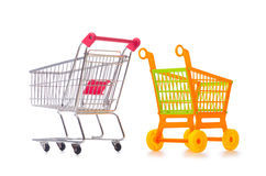 Shopping supermarket trolley isolated on the white Royalty Free Stock Photo