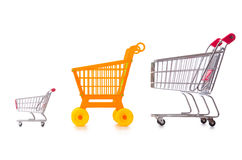 Shopping supermarket trolley isolated on the white Stock Photos