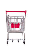 Shopping supermarket trolley isolated on the white. The shopping supermarket trolley isolated on the white Stock Photo