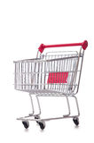 Shopping supermarket trolley isolated on the white Royalty Free Stock Images