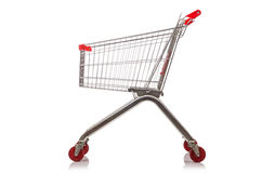 Shopping supermarket trolley. On the white Royalty Free Stock Image